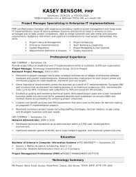 sle resume for a midlevel it project manager