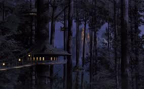 dark village wallpaper treehouse village walldevil