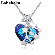swarovski fashion necklace images Ocean heart pendant necklace for women jewelry original crystal jpg