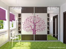 awesome tree decal wardrobe in white and purple girls bedroom with