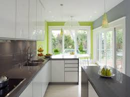 kitchen colour schemes ideas grey and white kitchen with a splash of colour on an accent wall