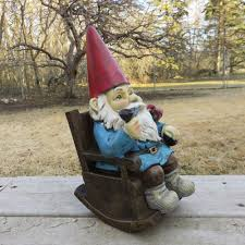 Mayrich Company Home Decor Garden Gnome Smoking Pipe In Rocking Chair Statue Bird Nome Yard