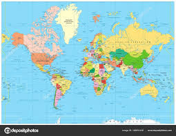 Mongolia On World Map Highly Detailed Political World Map With Labeling U2014 Stock Vector