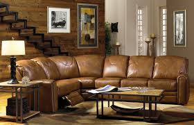 furniture brown leather sectional sofa with recliner back placed