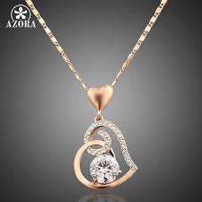 s day jewelry for azora gold plated stellux crystals heart pendant necklace for