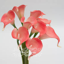 Calla Lily Home Decor Coral Calla Lilies Real Touch Flowers Bouquet For Bridal Bouquets