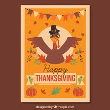 thanksgiving poster with turkey vector free
