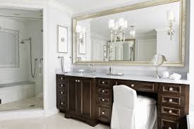 silver framed mirror with standard vanity height for classic