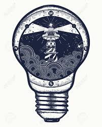 lighthouse in a lightbulb surreal tattoo and t shirt design