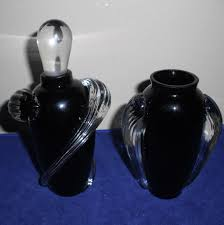Vintage Hand Blown Glass Vases Twos Company Vintage Black Vase With Matching Perfume Bottle Hand