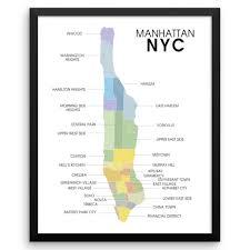 Manhattan Neighborhoods Map Manhattan Map Wall Art Print The Pixel Prince