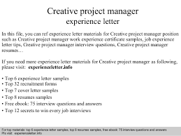 ideas collection example cover letter for creative project manager