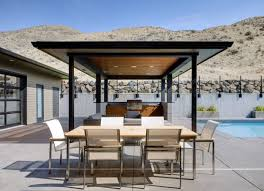 L Shaped Outdoor Kitchen by Outside Kitchen Stainless Steel Gas Stove Stone Soncrete Island
