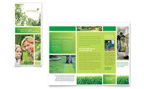 tri fold brochure publisher template lawn mowing service brochure template design