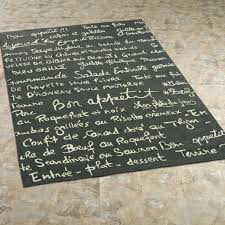 Kitchen Rugs Washable by Decorating Chic Kitchen Rugs With French Writing In Dark Green