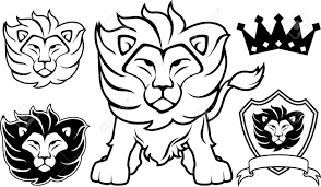 lion head designs isolated on white background in vector format