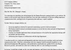 cover letter to hr department hr coordinator cover letter model