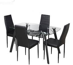 4 Seater Dining Table And Chairs Kitchen Table Set Price Royaloak Milan Glass 4 Seater