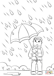 boy with umbrella coloring page free printable coloring pages
