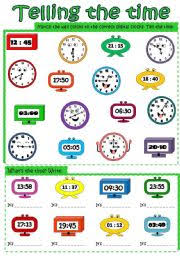 telling the time worksheet by mada 1