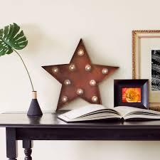 Metal Star Home Decor Lights Com Holiday Lit Objects Vintage Metal 10 Led Marquee
