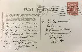 tudor writing paper retracing the steps of a 1929 fact finding mission william during his 1929 trip to london w m president chandler wrote to earl gregg swem updating him on his search for university history