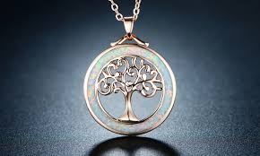 opal necklace silver images Tree of life necklace in fire opal and rose gold plating by jpg