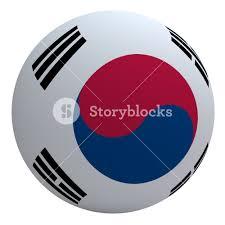 South Korea Flag South Korea Flag On The Ball Isolated On White Royalty Free Stock