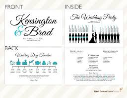 wedding day programs printable silhouette wedding program the kensington