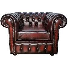 Club Chair Chesterfield Antique Ox Blood Genuine Leather Club Chair Sofa