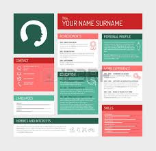 vector minimalist cv resume template color version with a