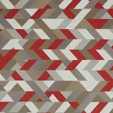 Geometric Fabrics Upholstery Red Grey Geometric Upholstery Fabric Modern Red Taupe