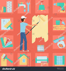 illustration worker man painting wall roller stock vector illustration of a worker man painting a wall with a roller and paint bucket bonus