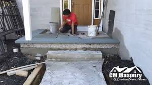 laying pavers over concrete patio stone veneer and bluestone installation youtube