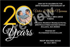 20th wedding anniversary 20 years 20th wedding anniversary photo invitation personalized