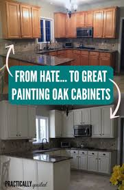 How To Paint Old Kitchen Cabinets Ideas by From To Great A Tale Of Painting Oak Cabinets