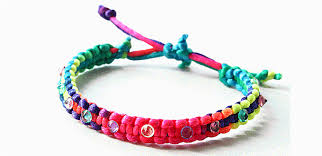 string bracelet with beads images How to braid a knotted friendship bracelet with rainbow thread and gif