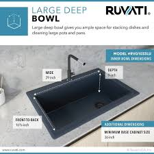what size undermount sink for 33 inch base cabinet ruvati 33 x 22 inch granite composite drop in topmount