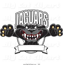 jaguar logo big cat cartoon vector clipart of a scary black jaguar mascot