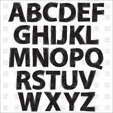 alphabet black letters on white background vector clipart image
