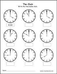 tell the time to the hour activity worksheet