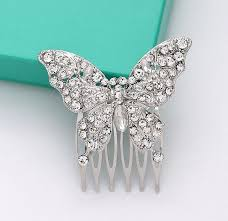 butterfly hair butterfly hair comb bridal hair rhinestone silver butterfly