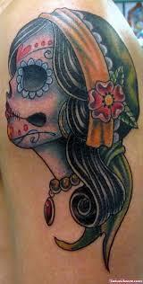 sugar skull on right back shoulder viewer com
