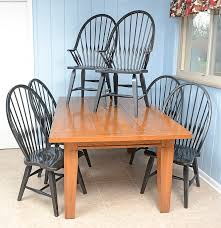rustic farmhouse kitchen table and windsor chairs ebth