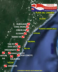 Playa Del Carmen Map Mexico Blue Dream Playa Del Carmen Dive Sites Top 10 Dive Sites