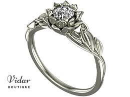flower engagement rings lotus flower engagement ring with leaves vidar boutique vidar