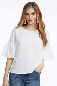 white bell sleeve blouse ruffle bell sleeve blouse mandee