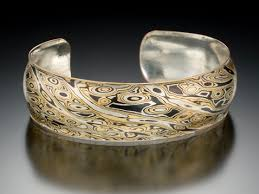 mokume gane cuff bracelet in mokume of sterling silver copper and brass with