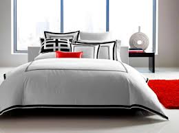 bedroom awesome modern white bedding with black trim sets fot