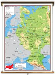 Geographical Map Of Europe by Western Russia Physical Educational Wall Map From Academia Maps
